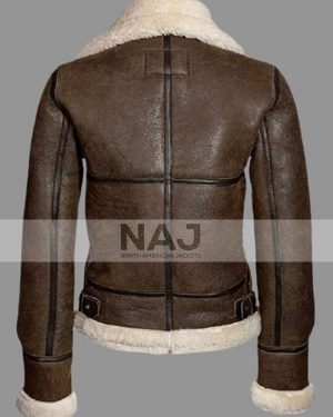 Women's Shearling Aviator Distressed Brown Leather Jacket