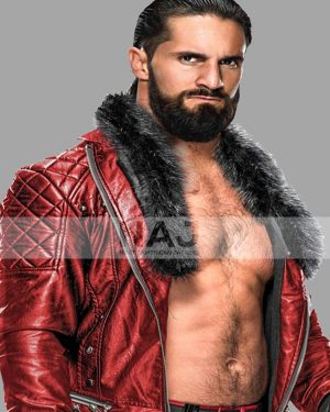 WWE Wrestler Seth Rollins Red Quilted Leather Jacket
