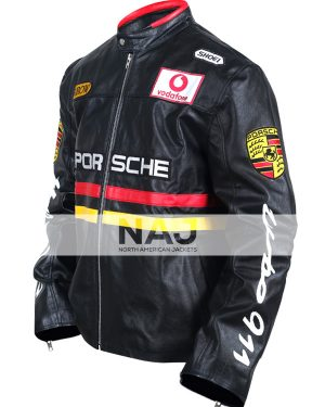 Porsche Racing Turbo 911 Black Motocycle Leather Jacket