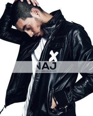 American Actor Manny Montana Black Leather Bomber Jacket