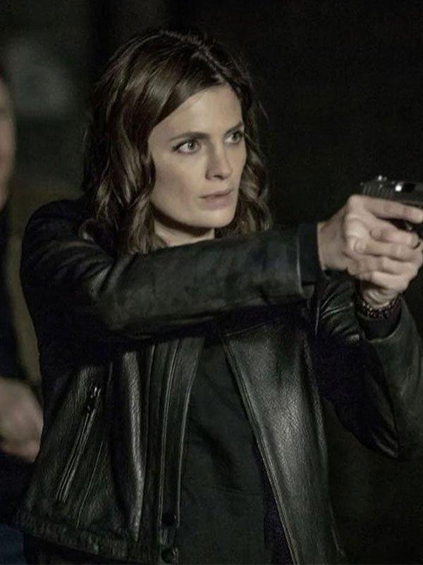 Stana Katic Absentia Season 03 Black Leather Jacket