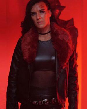 Natalie Burn Acceleration Rhona Black Leather Fur Collar Jacket