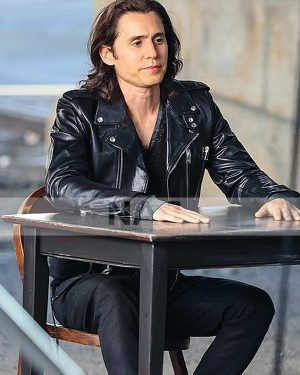 Jared Leto Wecrashed 2022 Adam Neumann Biker Black Leather Jacket