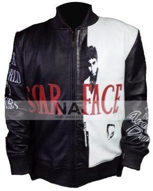 Tony Montana Scarface Black & White Leather Bomber Jacket