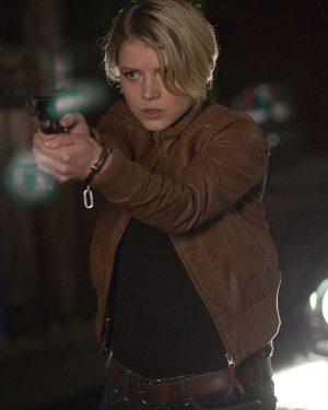 Sarah Jones Alcatraz Bomber Leather Jacket