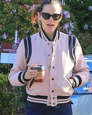 Jennifer Garner Pink Varsity Leather Jacket