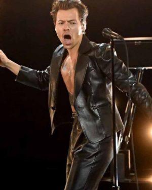Grammy Award Harry Styles Black Leather Jacket