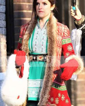Noelle 2019 Anna Kendrick Red Shearling Christmas Coat