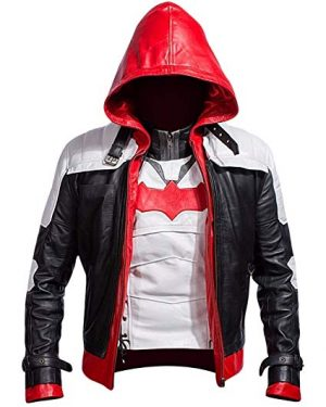 Arkham Knight Bat Logo Jacket with Red Hood