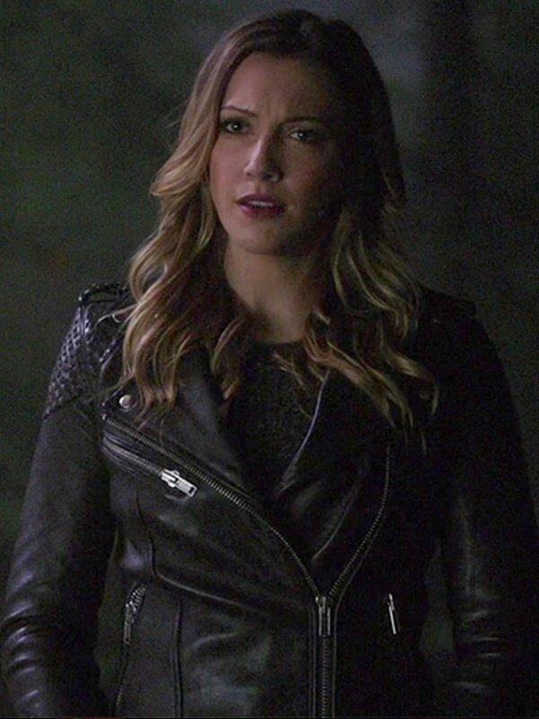 Arrow Season 5 Laurel Lance Black Biker Leather Jacket