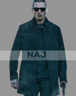 Barry Pepper Trigger Point Black Wool Mid-length Coat