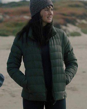 Shailene Woodley Big Little Lies Green Quilted Jacket