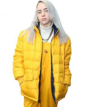 Billie Eilish American Singer Yellow Puffer Jacket