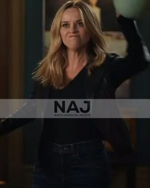 Reese Witherspoon The Morning Show S02 Black Leather Jacket