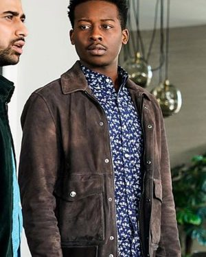 Miles Finer Hall God Friended Me Brandon Micheal Brown Suede Leather Jacket