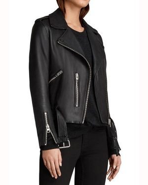 Caitlin Lewis The Perfectionists Black Biker Leather Jacket