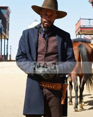 LaKeith Stanfield The Harder They Fall Blue Trench Coat