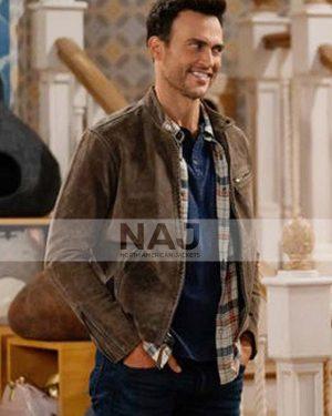 Max Call Me Kat Season 01 Cheyenne Jackson Brown Leather Jacket