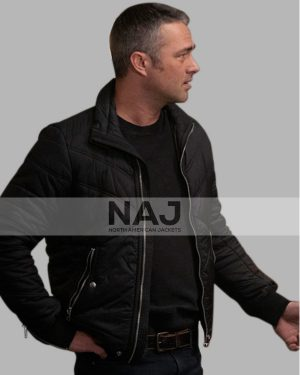 Chicago Fire Taylor Kinney Black Quilted Bomber Jacket