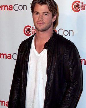 Chris Hemsworth Men Celebrity Black Leather Jacket