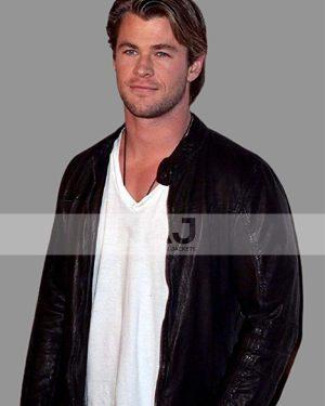 Chris Hemsworth Black Leather Jacket