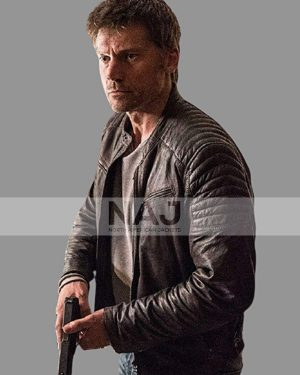 Nikolaj Coster-Waldau Domino 2019 Christian Toft Brown Leather Jacket