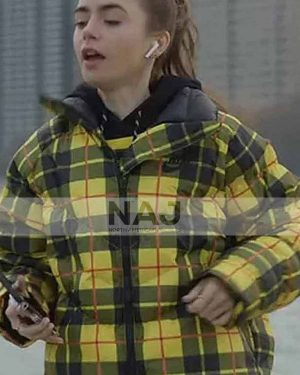 Lily Collins TV Series Emily in Paris S01 Yellow Plaid Puffer Jacket