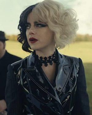 Emma Stone Cruella 2021 Shiny Leather Jacket