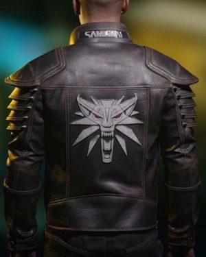 Video Game Cyberpunk 2077 Wolf School Brown Leather Jacket