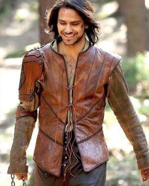 Luke Pasqualino TV Series The Musketeers D'Artagnan Brown Leather Vest
