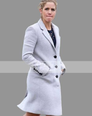 Felicity Smoak TV Series Arrow Season 06 White Wool Trench Coat