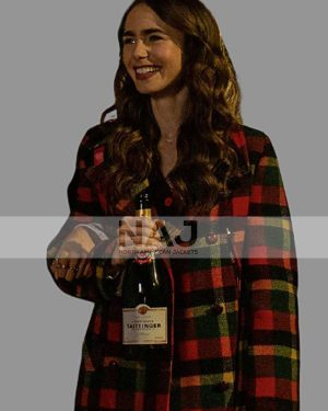 Lily Collins TV Series Emily in Paris Emily Cooper Checkered Coat