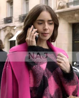 Emily Cooper TV Series Emily in Paris Lily Collins Pink Sweater