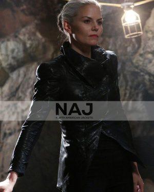 Jennifer Morrison TV Series Once Upon a Time Emma Swan Black Leather Jacket