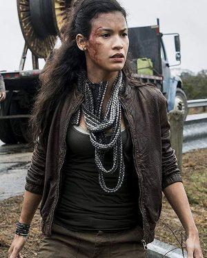 Fear The Walking Dead S4 Luciana Galvez Brown Leather Jacket