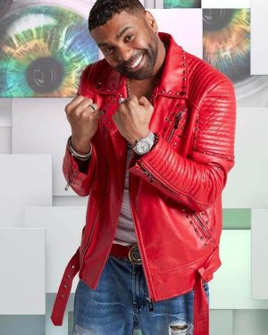 American Singer Ginuwine Studded Red Leather Jacket
