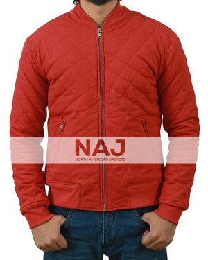 Barry Allen The Flash Red Quilted Bomber Jacket