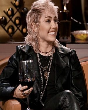 Hart to Heart Miley Cyrus Black Cropped Leather Jacket