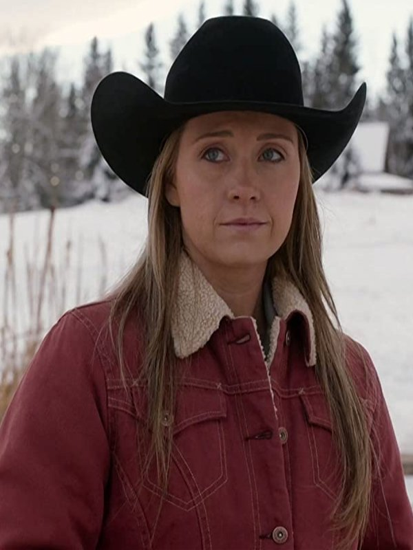 Heartland S14 Amy Fleming Red Shearling Jacket