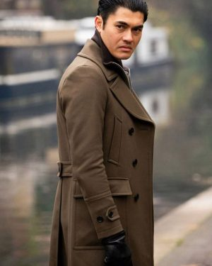 Dry Eye The Gentleman 2019 Henry Golding Brown Trench Leather Coat