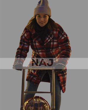 Ida Elise Broch Home for Christmas Checkered Wool Coat
