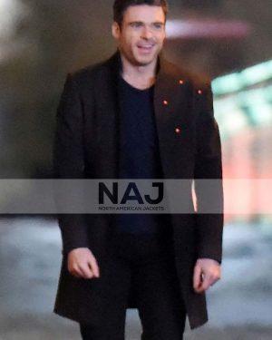 Richard Madden Eternals 2021 Ikaris Black Wool Coat