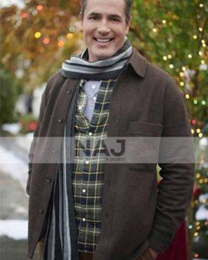 Victor Webster Five Star Christmas 2020 Jake Wool Brown Jacket