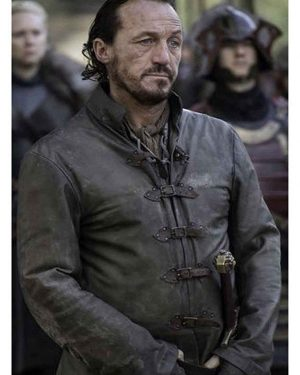 Jerome Flynn TV Series Game of Thrones S07 Bronn Brown Leather Jacket
