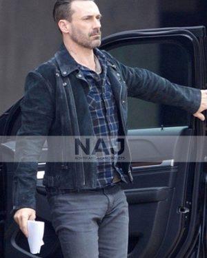 Jon Hamm Baby Driver Buddy BlackLeather Jacket