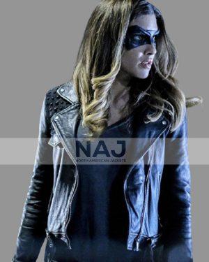 Dinah Drake TV Series Arrow Juliana Harkavy Blue Leather Jacket
