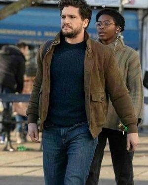 Kit Harington Eternals 2021 Suede Leather Jacket