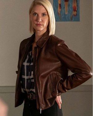 Frankie Drake Mysteries Season 03 Lauren Lee Smith Brown Bomber Leather Jacket