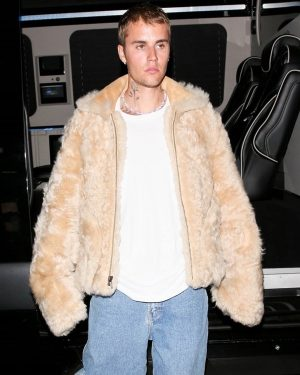 Los Angeles Justin Bieber Beige Faux Fur Coat