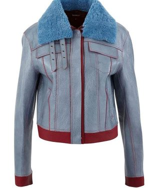 Zoe Chao Love Life Sara Yang Blue Leather Jacket with Fur Collar